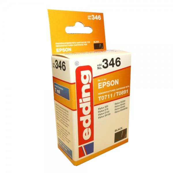 Original Edding Tinte Patrone 346 für Epson T0711 Stylus D78 D92 D120 DX4000 DX5000