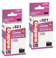 2x Original Edding Tinte Patrone 321 für Canon CLI-551XL BK Pixma IP7250 MX925
