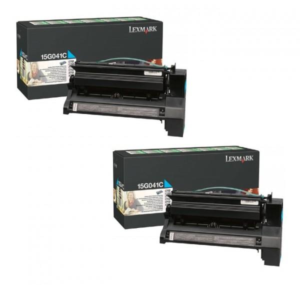 2x Original Lexmark Toner 15G041C cyan für C752 C762 X752 X762 Neutrale Schachtel