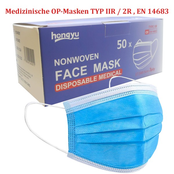 46294_50x_Mundschutz_Typ_IIR_/_2R_OP-Maske_Mund_Nasen_Einweg_Maske_DIN_EN14683