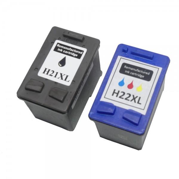 2x REMAN DRUCKER PATRONE für HP 21 22 XL DESKJET F370 F375 F380 F2180 F2224 F2280 F4180