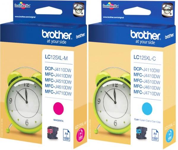 2x Original Brother LC-125XL Tinte Patronen cyan magenta MFC-J 4410 6520 6720