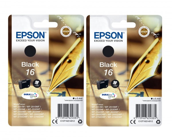 2x Original Epson Tinte 16 schwarz für WorkForce WF 2010 2520 2630 2650 2750