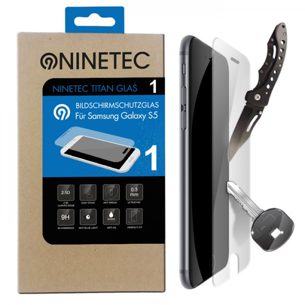 NINETEC Titanglas Schutzfolie für Samsung Galaxy S5