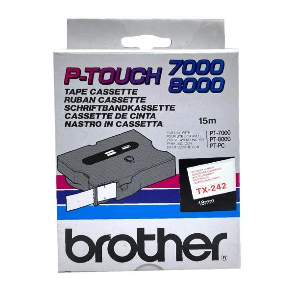 Brother TX-242 (18mm, weiß auf rot) OEM