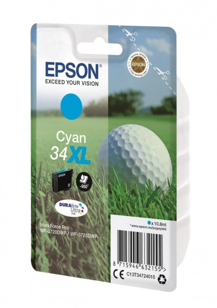 Original Epson 34XL Tinte Patrone cyan für WorkForce Pro WF 3700 3720 3725