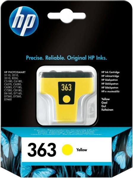 Original HP 363 Tinte Patrone gelb PhotoSmart 3108 3110 3210 3310 8250 MHD