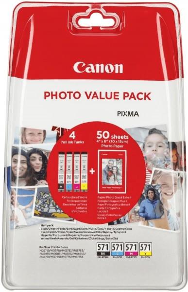 Original Canon Tinte Patronen CLI-571 C/M/Y/BK Photo Value Pack + PP-201 Fotopapier