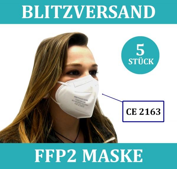 5x FFP2 Atem Schutzmaske Mundschutz 5-Lagig zertifiziert einzeln verpackt